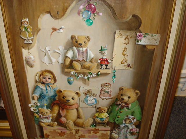 Deborah Jones (British, 1921) Teddy Bears and Doll within a Shaped Niche
