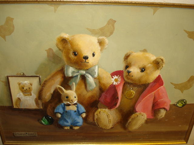 Deborah Jones (British, 1921) Two Teddy bears with a Toy Rabbit