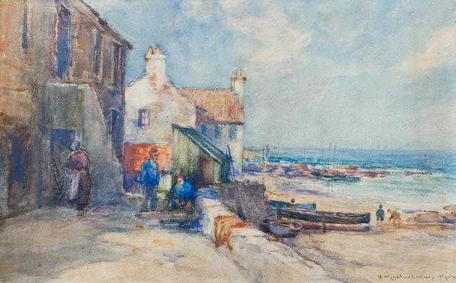 John Maclauchlan Milne RSA (British, 1886-1957) East Coast Harbour, Cellar Dyke 30 x 45 cm. (11 13/16 x 17 11/16 in.)