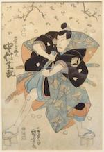 Eisen, two woodblock prints Meiji