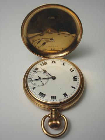 18ct gold half hunter pocket watch  A Taylor & Son Glasgow together with a 9ct gold pocket watch with initials JMK