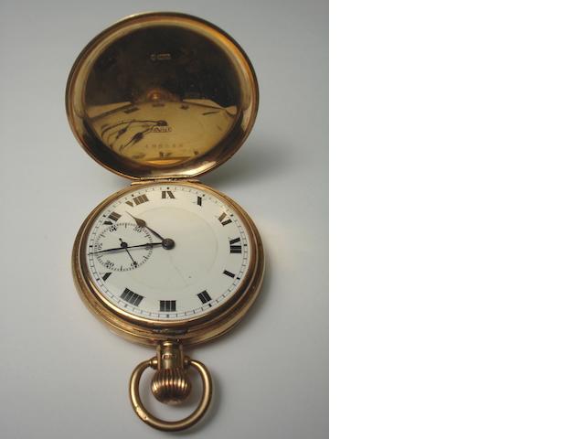18ct gold half hunter pocket watch  A Taylor & Son Glasgow together with a 9ct gold pocket watch with initials JMK