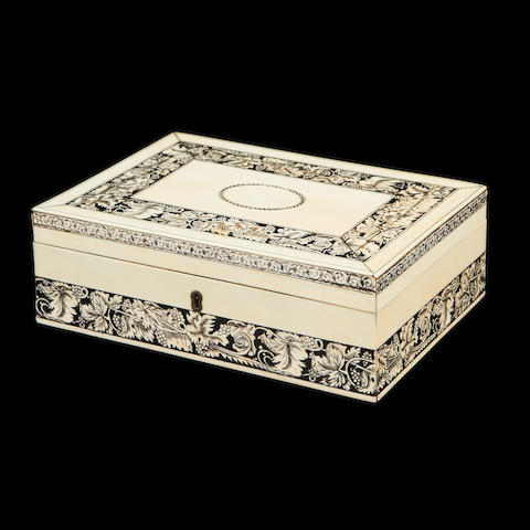 A late 19th century Vizagaptam ivory veneered box
