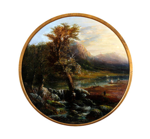 British School, (19th century) 'Sunset near Bedgellett North Wales' 60cm diam.