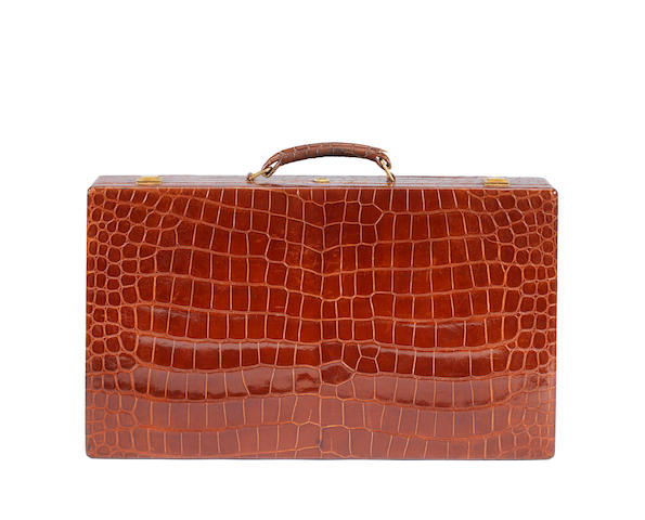 An Hermes croc jewellery case