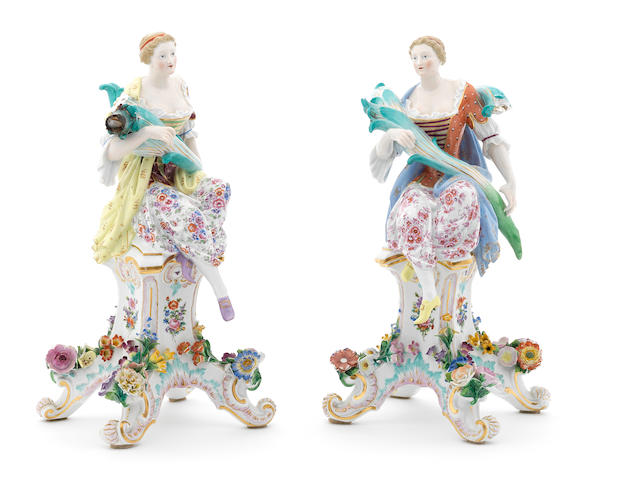 Two Meissen figures of ladies on pedestals, late 19th century