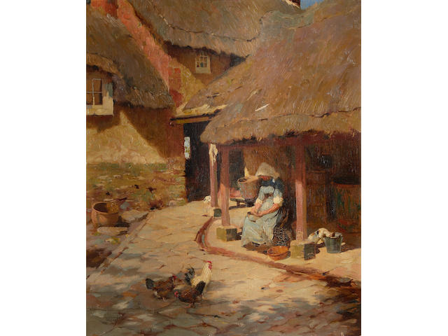 Frederick Hall (British, 1860-1948) Figure by a cottage