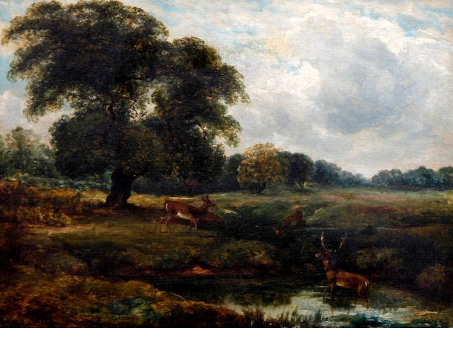 Circle of Robert Hills, O.W.S. (British, 1769-1844) Deer in a wooded river landscape