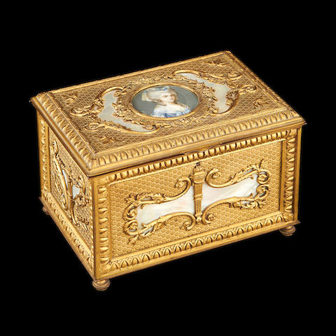 A 19th century Palais Royale type gilt bronze and mother of pearl casket