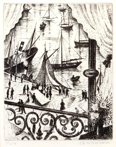 Christopher Richard Wynne Nevinson A.R.A. (British, 1889-1946) The Balcony, Dieppe Etching, 1929, signed, dated and numbered '17' in pencil, with margins, from an edition of 75, 170 x 137mm (6 3/4 x 5 1/4in) (PL) 1