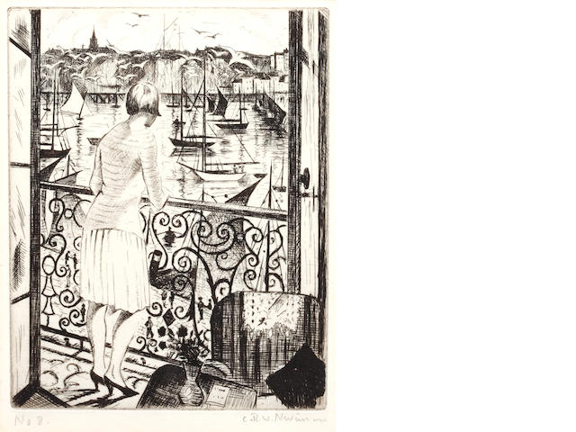Christopher Richard Wynne Nevinson A.R.A. (British, 1889-1946) Woman on a balcony Etching, signed and numbered '8' in pencil, 172 x 135mm (6 3/4 x 5 1/4in) (PL) 1