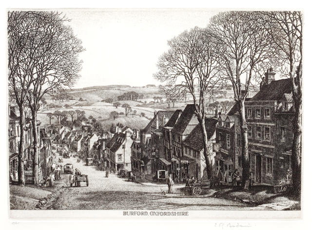 Stanley Roy Badmin RWS (British, 1906-1989) Burford, Oxfordshire Etching, signed and numbered 17/45 in pencil, 132 x 185mm (5 1/8 x 7 1/2in.) (PL) 1