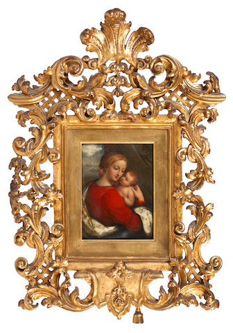 Henry Bone, R.A. (British, 1755-1834), after Giovanni Pietro Rizzoli, called il Giampietrino (Italian, active 1495–1549) Madonna and Child, seated before an aperture; the former, wearing vermilion robe edged with blue, an ivory mantle (cracked) edged with gold and draped over her left shoulder, her hair upswept beneath a gold-edged veil, she holds the Christ child in her arms