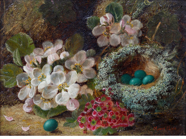 Oliver Clare (British, 1853-1927) Still life with birds nest