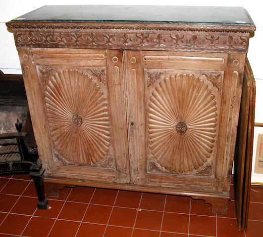 An Anglo Indian bleached padokwood side cabinet,