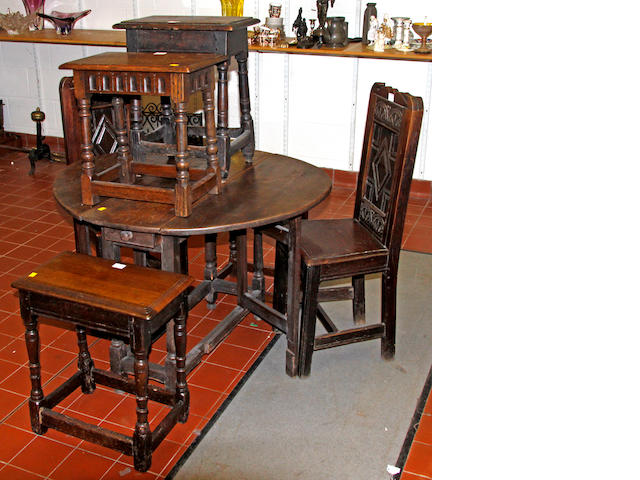 Four assorted 17th Century style oak joint stools,on turned legs, a low coffer table and a pair of panel back side chairs (7)