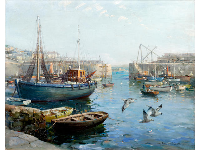 Vernon Ward (British, 1905-1985) Mousehole Harbour Entrance