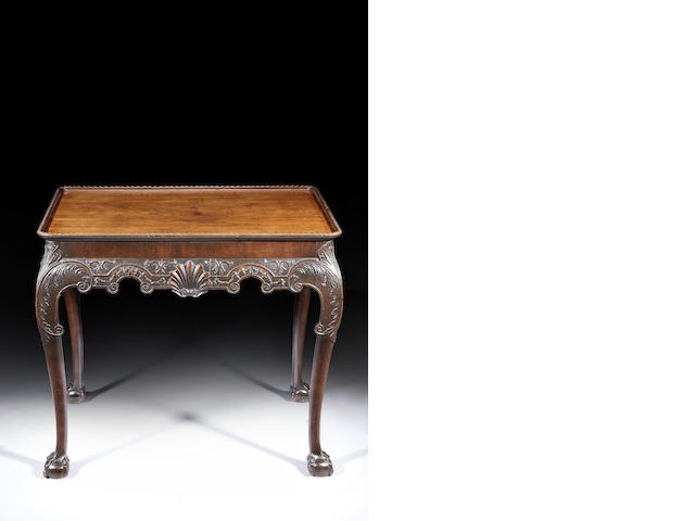 A George III carved mahogany centre table possibly Irish