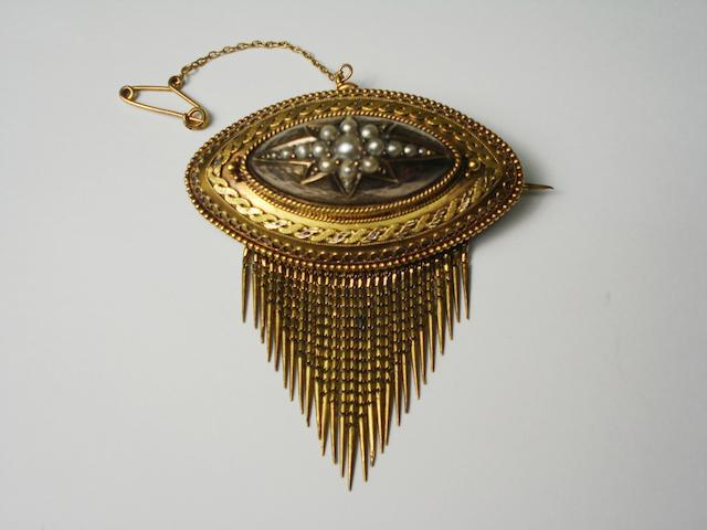 A Victorian brooch set with pearls
