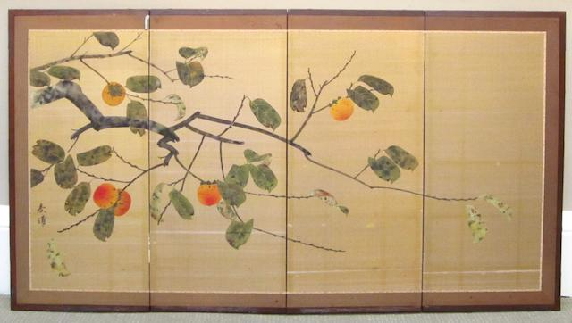 A four fold screen 20th century, signed 'Shunpo'