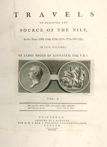BRUCE (JAMES) Travels to Discover the Source of the Nile, in the Years 1768, 1769, 1770, 1771, 1772, and 1773, 5 vol.; and another (6)