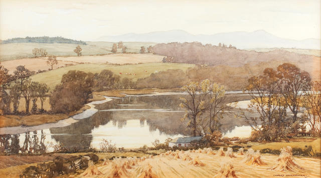 Charles Oppenheimer, RSA RSW (British, 1876-1961) The Galloway Dee from Woodlea 32.5 x 55.5 cm. (12 13/16 x 21 7/8 in.)