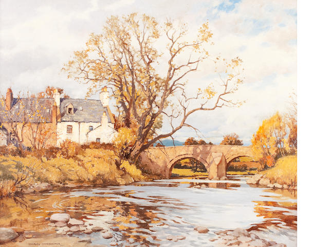 Charles Oppenheimer, RSA RSW (British, 1876-1961) The Old Bridge, Gatehouse-of-Fleet 63.5 x 76.5 cm. (25 x 30 1/8 in.)