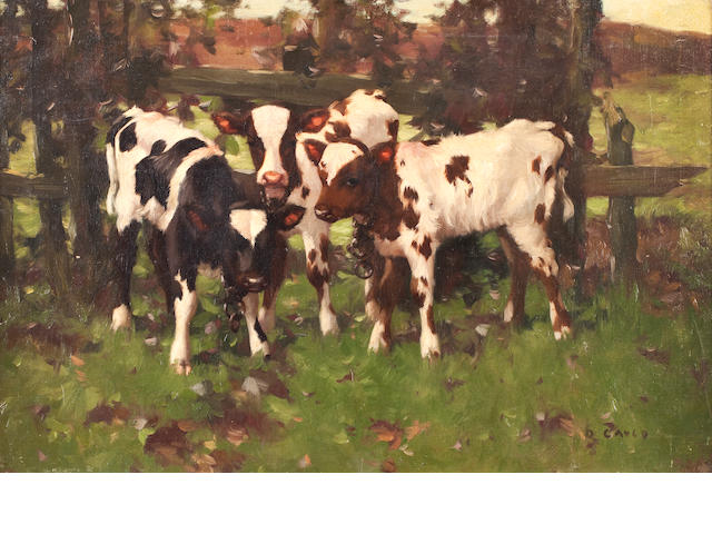 David Gauld, RSA (British, 1865-1936) Three calves 61 x 92 cm. (24 x 36 1/4 in.)