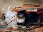 Circle of Horatio Henry Couldery (British, 1832-1893) Kittens at play in a studio