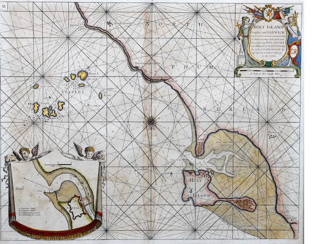 Captain Greenvile Collins (British, active 1669-1696) Sea Chart Northumberland Holy Island, Staples and Barwick, a sea chart, engraving, hand coloured with inset chart of the mouth of the River Tweed