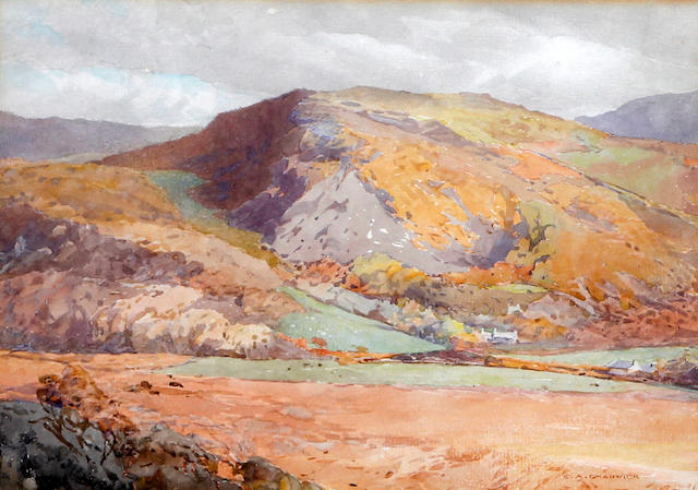Ernest Albert Chadwick, RI, RBSA (British, 1876-1955) 'Welsh Mountains (looking across to the Cader range)'