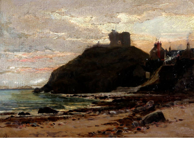 Charles L. Saunders (British, ?-1915) View of Criccieth from the shore, and another '..The Coast North Wales', a pair