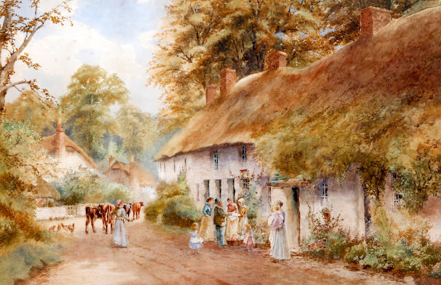 Arthur Stanley Wilkinson (British, circa 1860-circa 1930) Village scene with vendor and maids by cottages