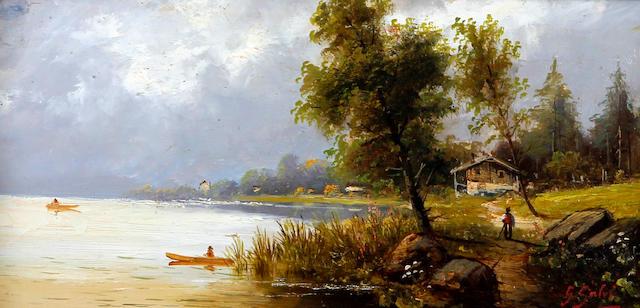 G. Salvi (Italian), (late 19th century) Lake scene with boats