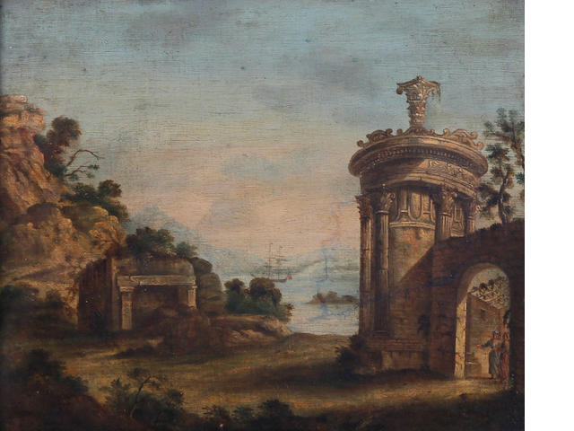British School, (circa 1800) Classical ruins on a coastline with sailing boat in the distance