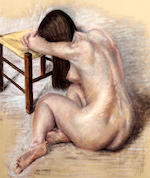 Allan Cownie (British), (20th century) Female nude seated by a stool