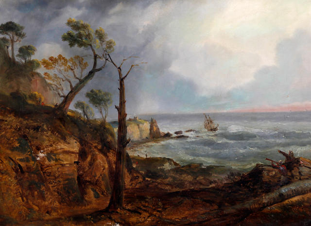 English School, (circa 1860) Watchers on the shore with a vessel near the rocks