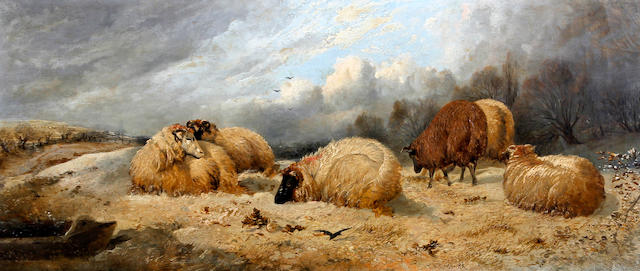 Follower of Thomas Sidney Cooper, RA (British, 1803-1902) Sheep in a snowy landscape