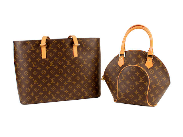 Two Louis Vuitton brown leather monogram bags