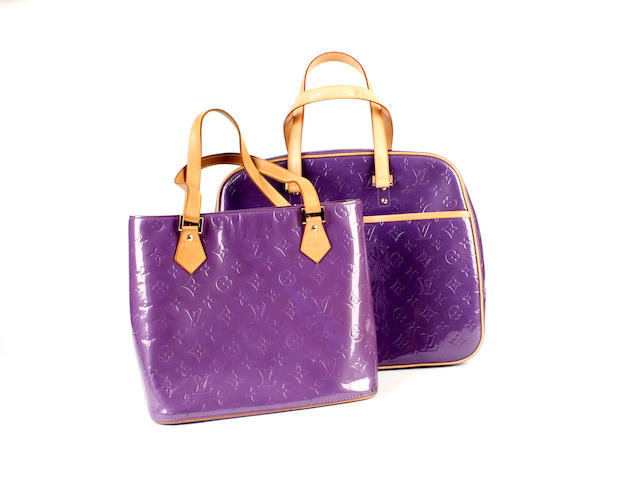 Two Louis Vuitton purple vernis monogrammed bags