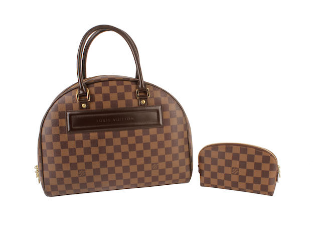 A Louis Vuitton damier bowler bag with matching cosmetic bag