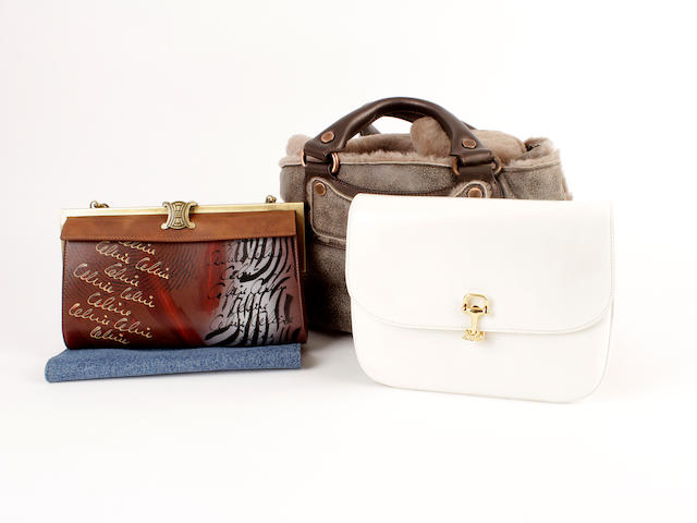 Four Celine items - a white leather bag, a printed bag, a sheepskin bag, a denim pouch