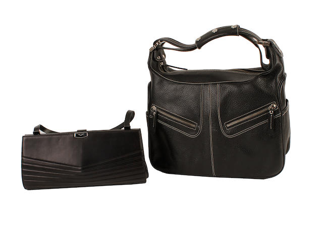 A Tod's black leather bag and a Vertu leather bag