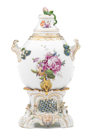 A very rare Fürstenberg samovar, cover and stand, circa 1770