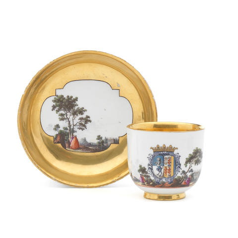 A Meissen armorial cup and saucer from the Pisani-Corner service, circa 1745