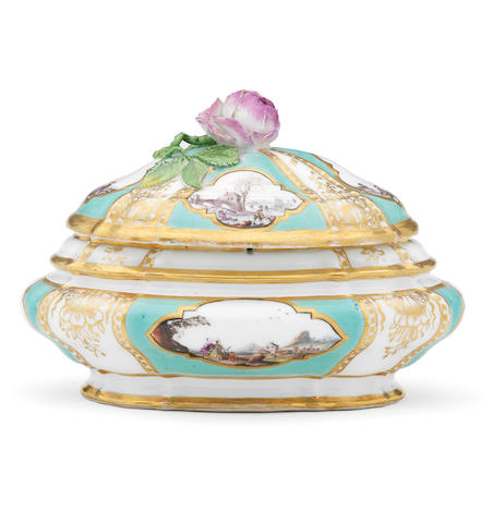 A Meissen sea-green-ground shaped oval box and an associated cover from a toilet service, circa 1745