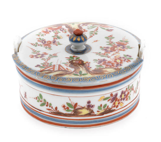 A rare Meissen cylindrical butter box and cover, circa 1725-30
