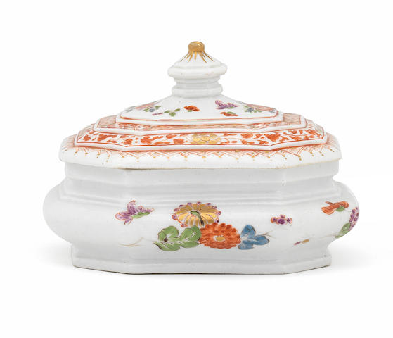 A Meissen octagonal sugar box and cover, circa 1725