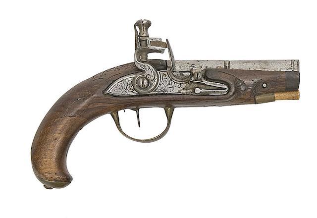 A Small Continental 40-Bore Flintlock Pistol, A Liège 16-Bore Flintlock Pistol, And Two Turkish 18-Bore Flintlock Holster Pistols