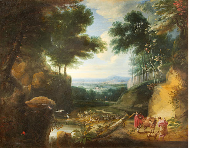 Follower of Jaques d'Artois Figures on a country path in an Italianate landscape